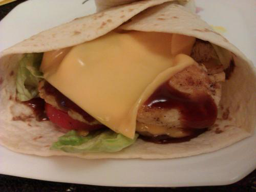 Wrap chicken sauce barbecue